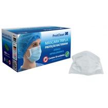 Máscara Descartável Tripla Com Elástico Branco Protclen - Protdesc