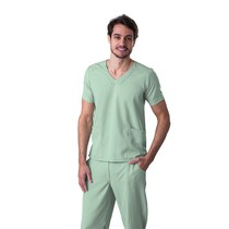 Scrub Blusa Masculina Decote V Gabardine Verde - Namastê