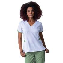 Scrub Blusa Feminino Decote V Estampa Gabardine Verde - Namastê