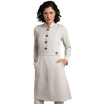Jaleco Feminino Paola Marfim com Marrom - Holi Coats