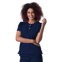 Scrub Blusa Feminina Decote V Gabardine Azul Marinho Princesa - Namastê