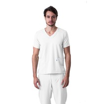 Scrub Blusa Masculina Decote V Gabardine Branco - Namastê