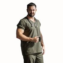 Scrub Blusa Masculino Plus Size Decote V Gabardine Militar - Namastê